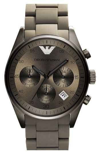 BEAUTIFUL!!!! Emporio Armani Silicone Chronograph Watch available at Nordstrom | Raddest Men's Fashion Looks On The Internet: http://www.raddestlooks.org