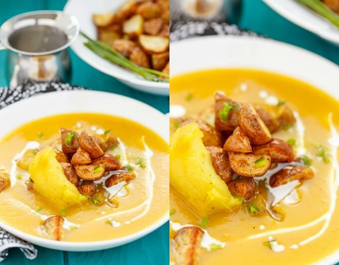 Roasted apple pumpkin soup with Little Potatoes. This healthy soup is vegan and gluten-free too!