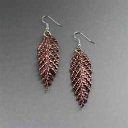 Corrugated Fold Formed Copper Leaf Earrings - Makes a Great 7th Wedding