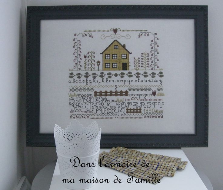 "http://danslarmoiredemmdf.42stores.com/ broderie - point de croix - Sampler ""la maison jaune"" - cross stitch - Sampler ""the yellow house"""