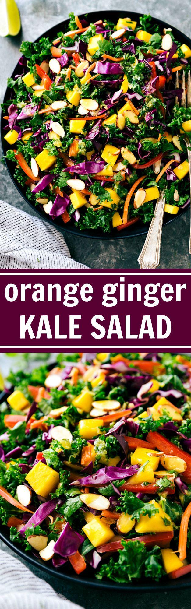 Orange Ginger Kale Salad with Chicken Veggie Kabobs