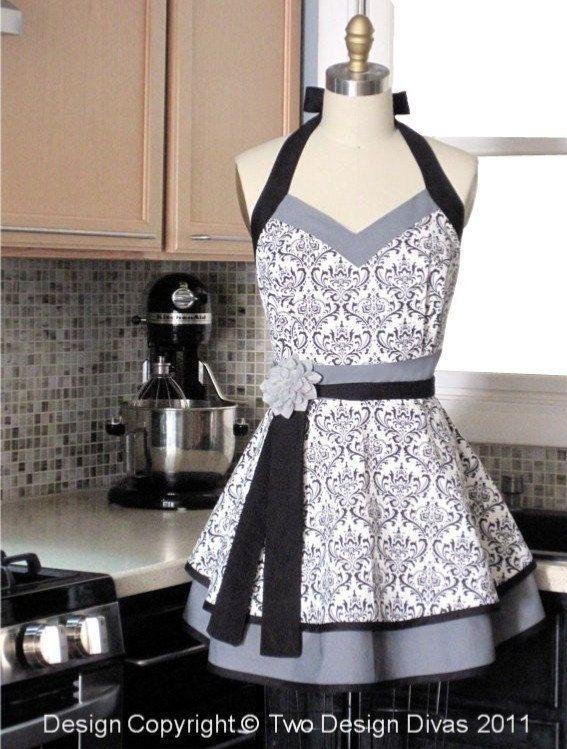 Kitchen Apron - Black White Damask Double Skirt - FULLY LINED APRON - Heavy Fabrics from Etsy seller twodesigndivas