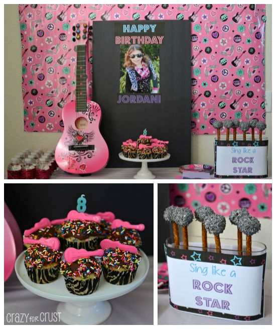 VIP Rock Star Party Ideas - Crazy for Crust  Love the cake pops.  She also hired a dance instructor to teach them a dance to the bday girls fave song
