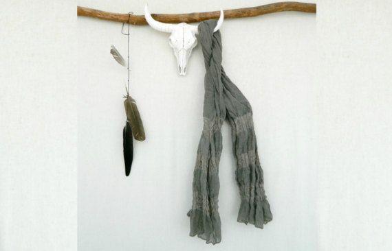HEMATITE . tie dye scarf . grey on grey . boho by bohemianbabes