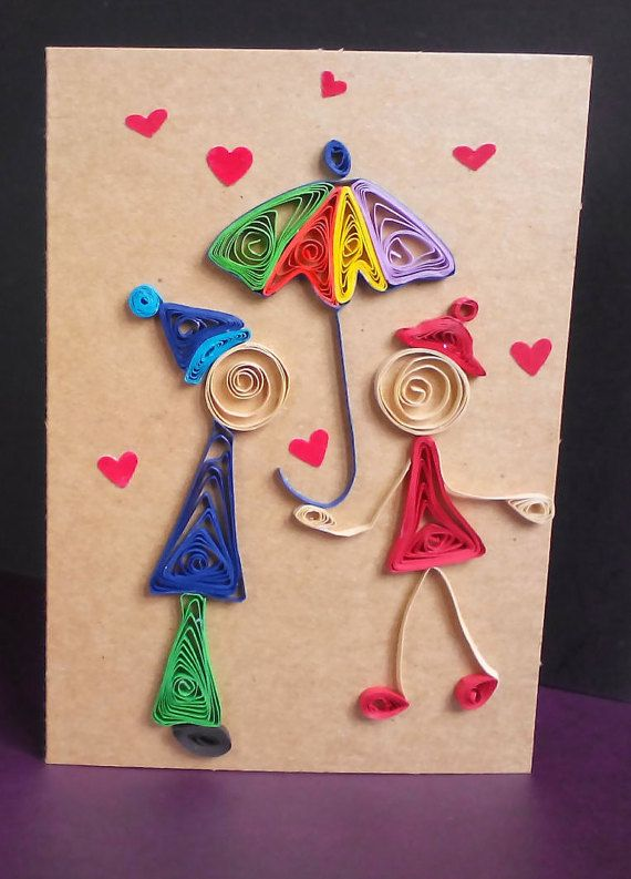 Quill Card Quilled Love Card Handmade Love Card Paper Love Card