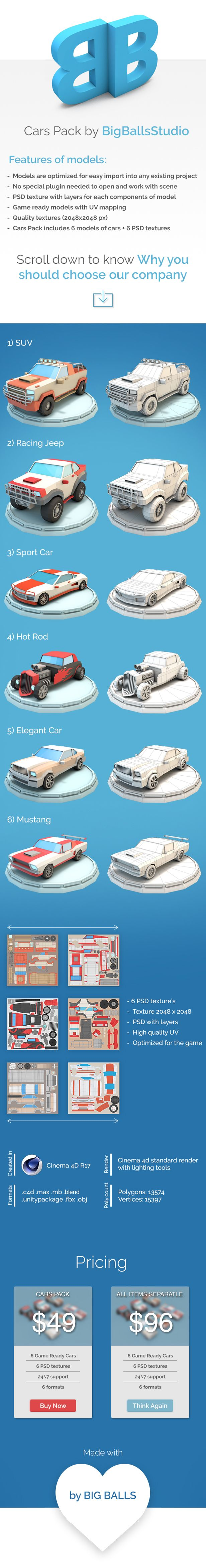 The racing car set consists of six low poly cars and six textures. All cars have UV mapping and ready for game. Formats: max, maya, c4d, blend, fbx, obj