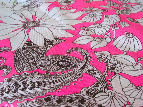 Vintage Fabric Hot Pink Brown & White Groovy by NehiandZotz, $20.00Vintage Fabrics, Hot Pink, Pink Brown, Fabrics Hot, White Groovy