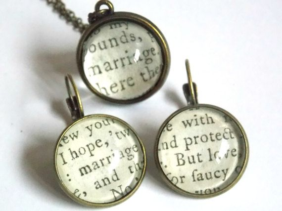 #personalized #jewelry #jewelryset #love #marriage #wedding #statement #bride #proposal #statement #anniversary #birthday #gift #antique #book #paper #dangling #earrings #necklace #pendant jewelryagnes.etsy.com