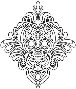 Damask Calavera design (UTH5307) from UrbanThreads.com - Has the option of machine embroidery or hand stitch designs.