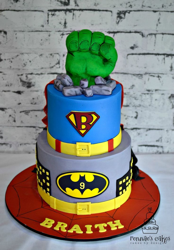 Superhero Cake Hulk Superman Batman Spiderman Boys