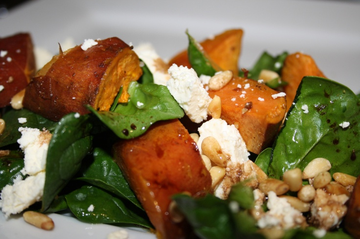 sweet potato, spinach, fetta and pinenut salad - misslollylovesfood