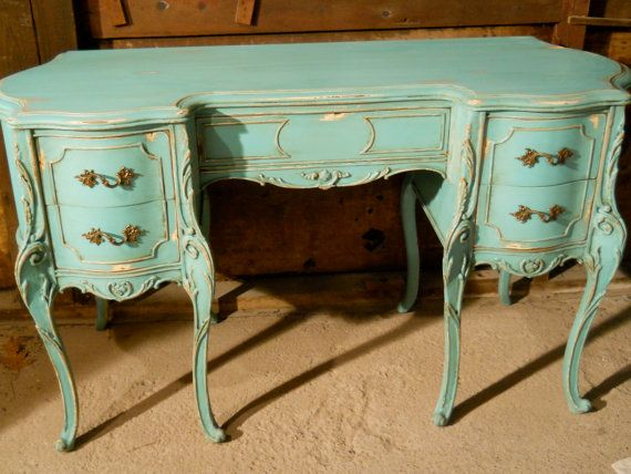 Vintage French Provincial Hand Painted Aqua Desk Reserved Jessica Eyal - Best 25+ French Desk Ideas On Pinterest Study Furniture