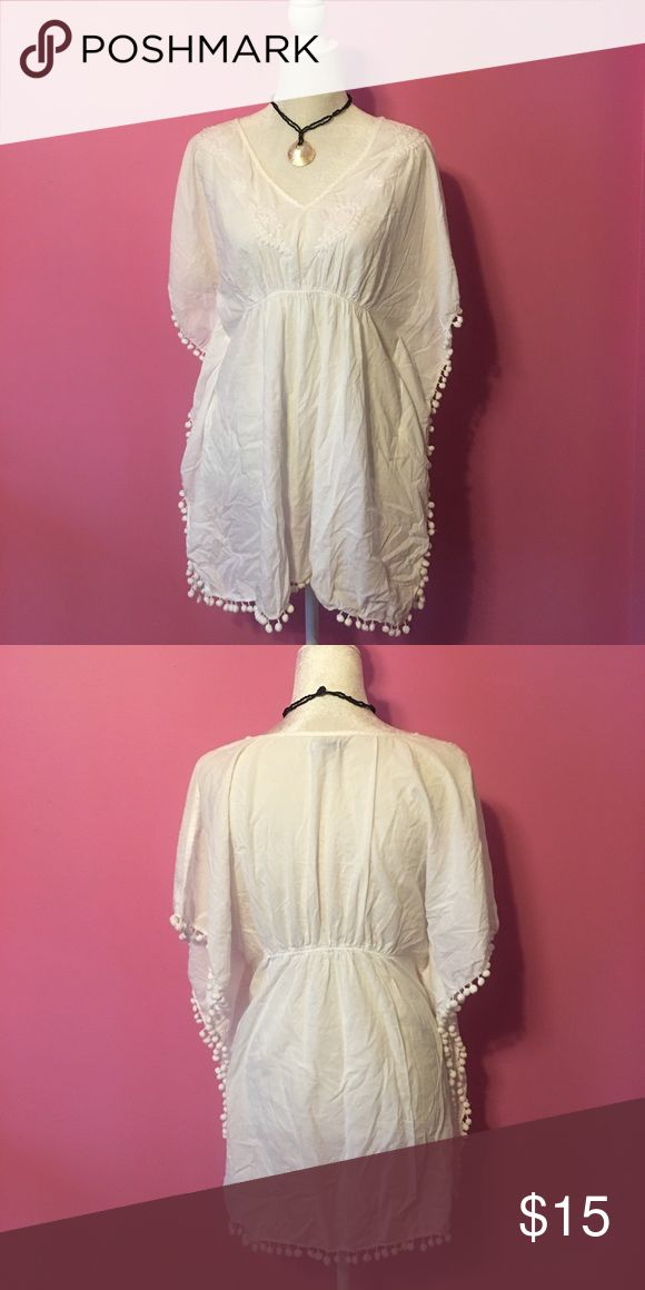 Bathing suit cover up White bathing suit cover up. Ball fringe trim. Old Navy Swim Coverups