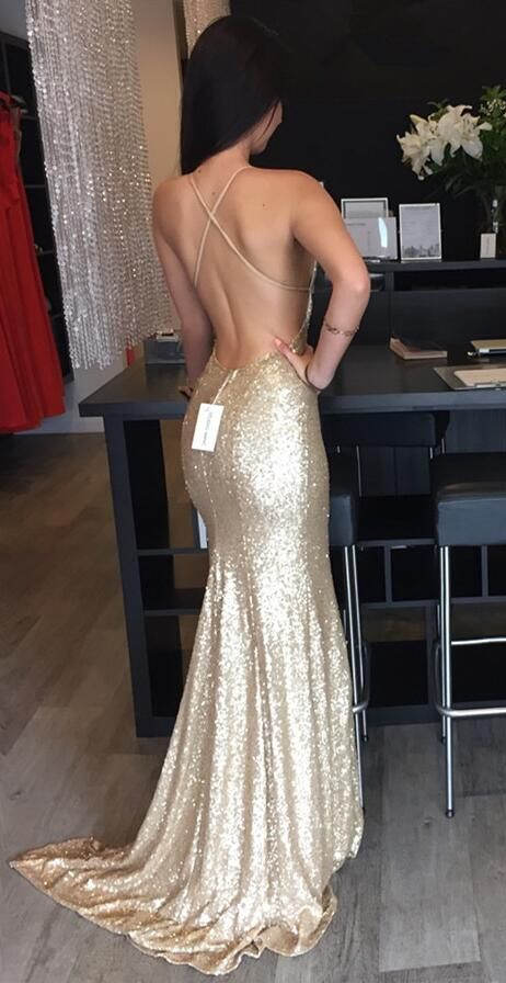 Backless Sequin prom dress, Mermaid Gold prom dress, Long prom dress, 2017 prom dress, Custom prom dresses, 16173