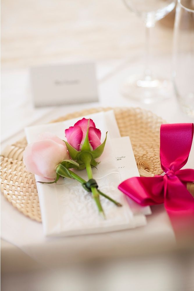 Menu Card adorned with Rose by Tirtha Bridal Uluwatu Bali
