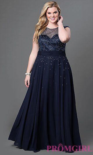 Floor Length Plus Dress with Rhinestone Embellishments by Sydney's Closet at PromGirl.com