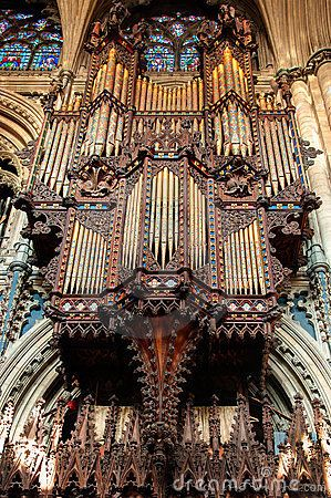Church organ in the Ely Cathedral, Cambridgeshire, England.