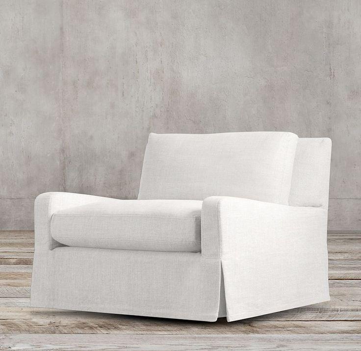 Belgian slope arm slipcovered swivel chair slipcovers