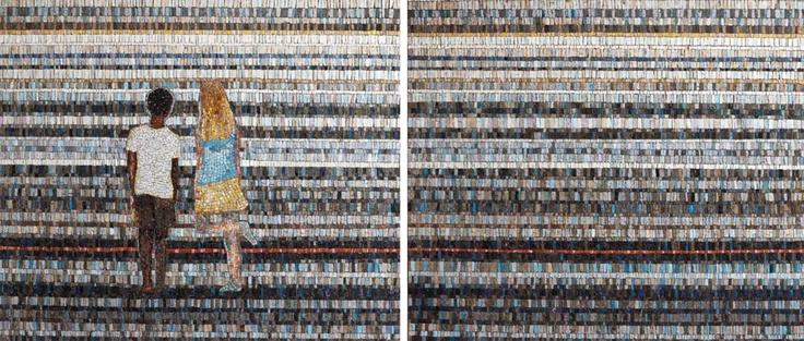 Friends and Stripes, Diptych size: 0.9x2m, conceived by Tom Cullberg and produced by Spier Architectural Arts, Contemporary style mosaic with Venetian glass, ceramic elements, engineered and natural stone; direct method, 2009; Spier Art Collection