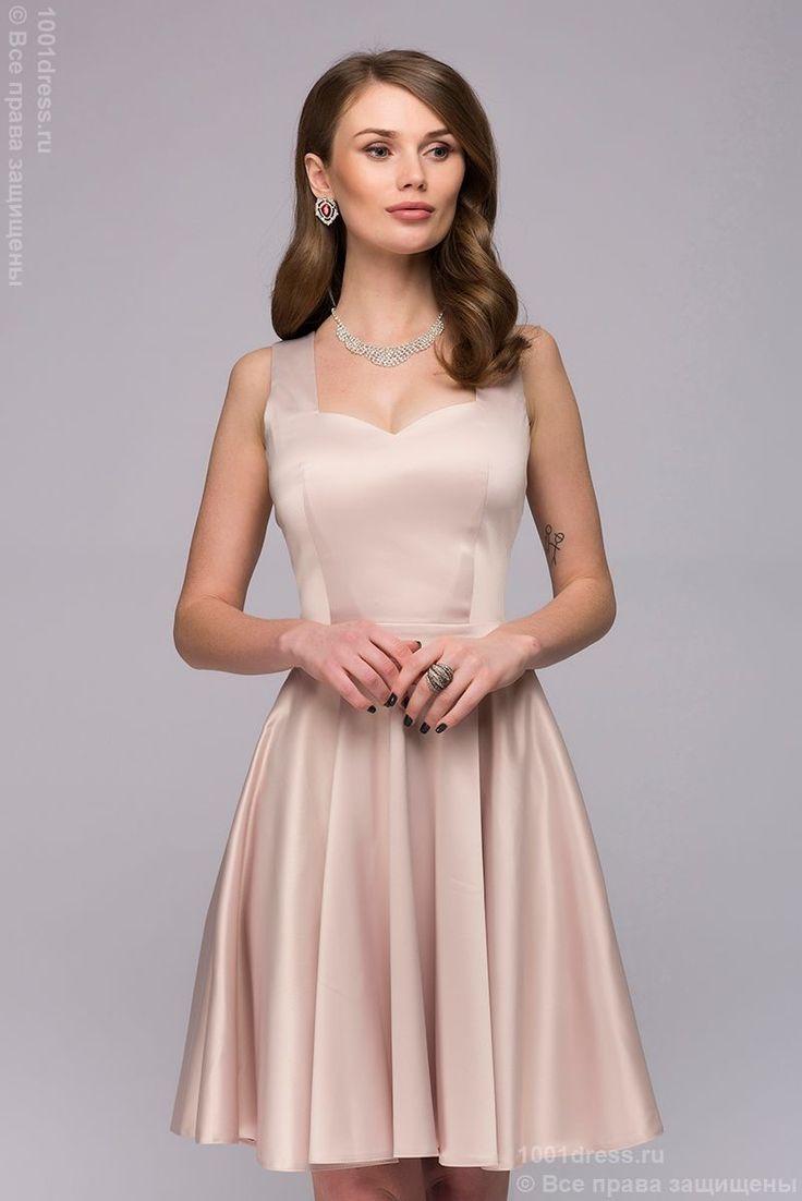 Платье ванильного цвета длины мини с оригинальным вырезом на спинке в интернет-магазине 1001 DRESS