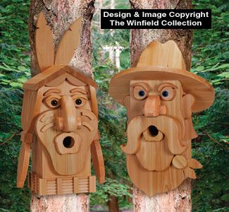 Cedar Cowboy & Indian Birdhouse Plans Uniquely shaped birdhouses are easy to make from layers of ...