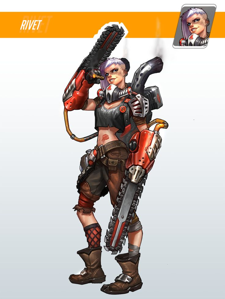 Rivet. Beckie met her in a bar, kicked some asses with her, and became friends. She is good with melee and uses two chainsaws and medium armor.