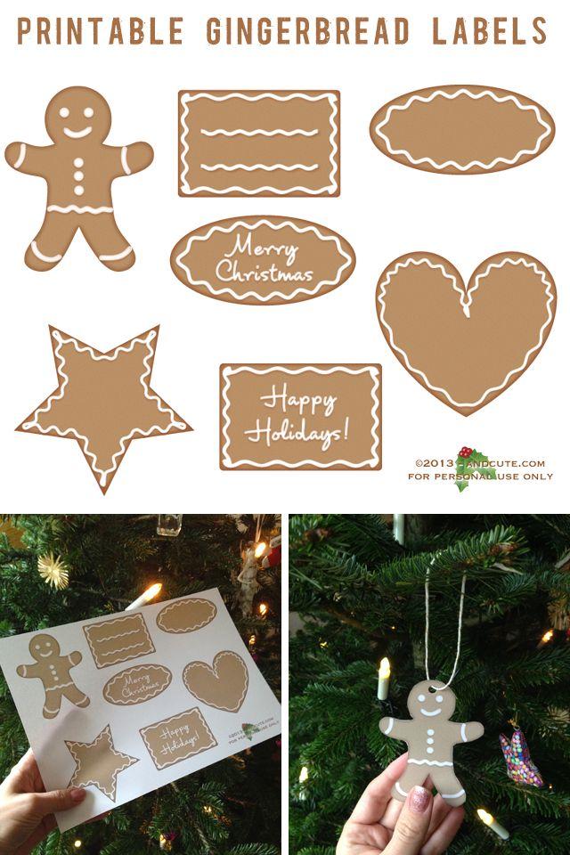 Printable Gingerbread Labels Ornaments by @Dani Gudith (andcute.com)