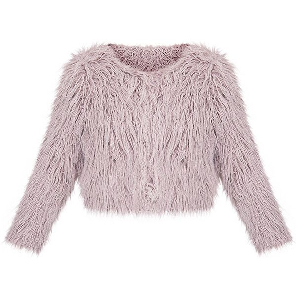 Liddie Grey Faux Fur Shaggy Cropped Jacket ($40) ❤ liked on Polyvore featuring outerwear, jackets, faux fur jacket, grey jacket, grey cropped jacket, fake fur jacket and gray jacket
