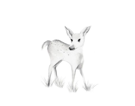 woodland nursery art baby deer fawn grey nursery by studioqgallery