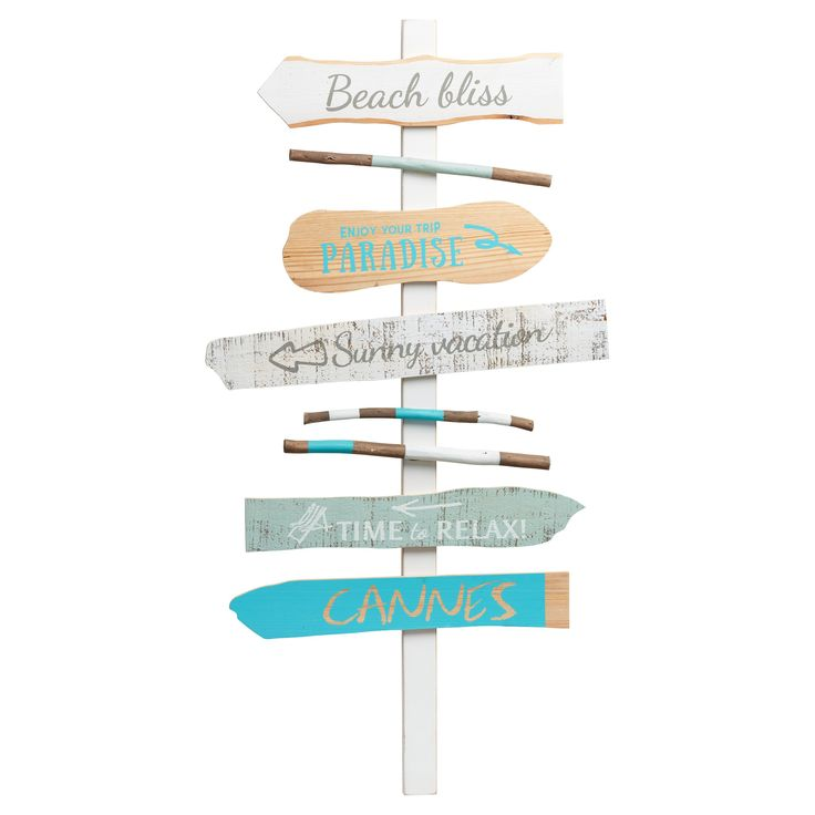 Wandbord met strandprint. Kleur: blauw. Materiaal: hout. Afmeting: 90x47 cm (hxb). #tuin #tuindecoratie #KwantumLente