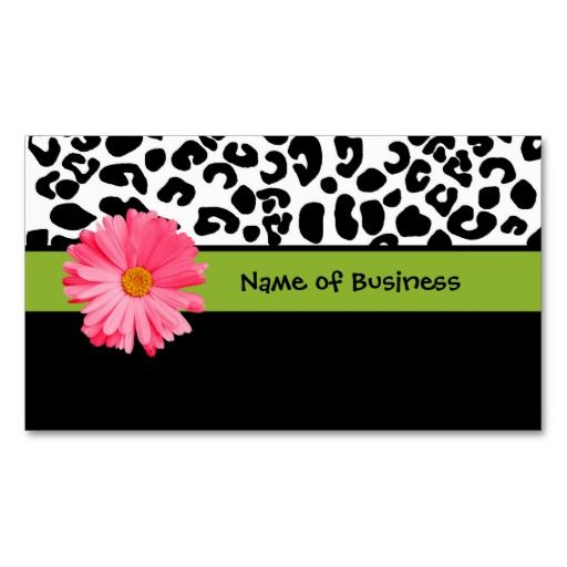 16 best black and pink business cards images on pinterest business trendy black and white leopard print pink daisy business card reheart Images