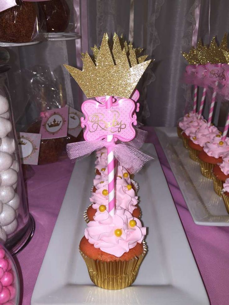 Pretty cupcakes at a princess baby shower party! See more party planning ideas at CatchMyParty.com!