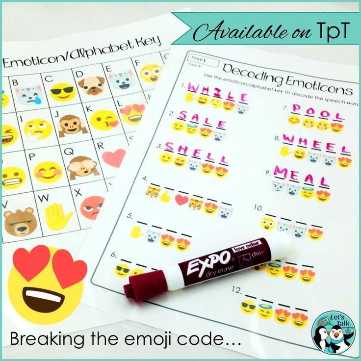 Emoji code in speech therapy for articulation & irregular verbs