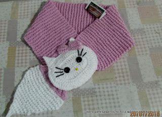 Blog da Bete Artesanatos: Cachecol Infantil em Tricô e Crochê Hello Kity - A...