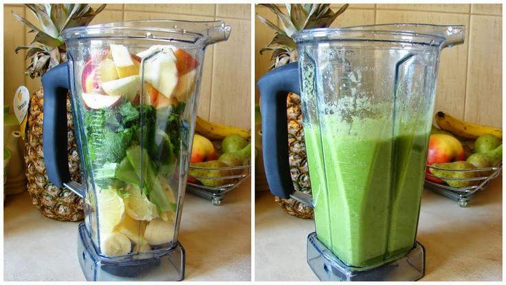 Zielone koktajle: zielone liście + jabłko + banan + ananas + cytryna