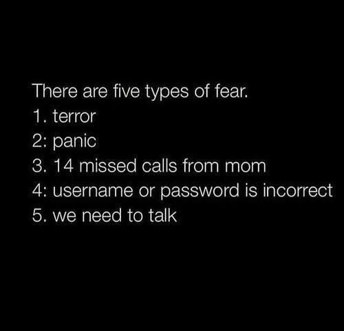 There are five types of fear