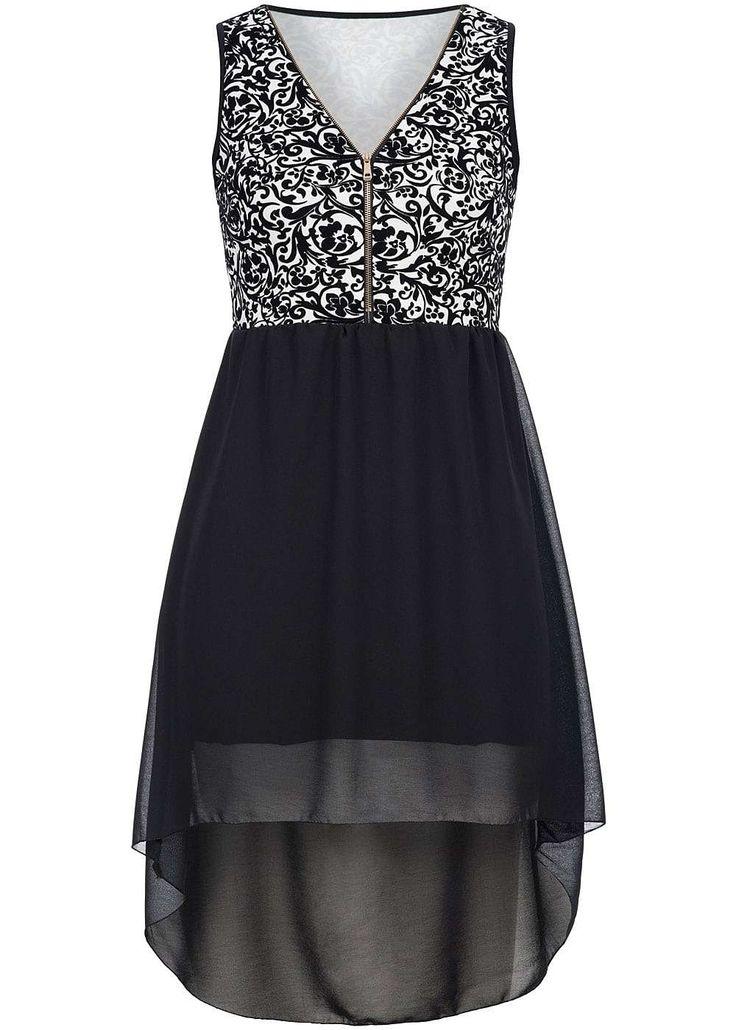 Styleboom Fashion Damen Mini Kleid Zipper Florales Muster hinten länger schwarz…