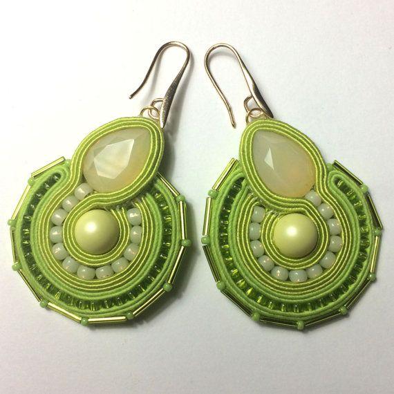 Soutache earrings Citrus sorbet summer jewelry by Lolissa on Etsy