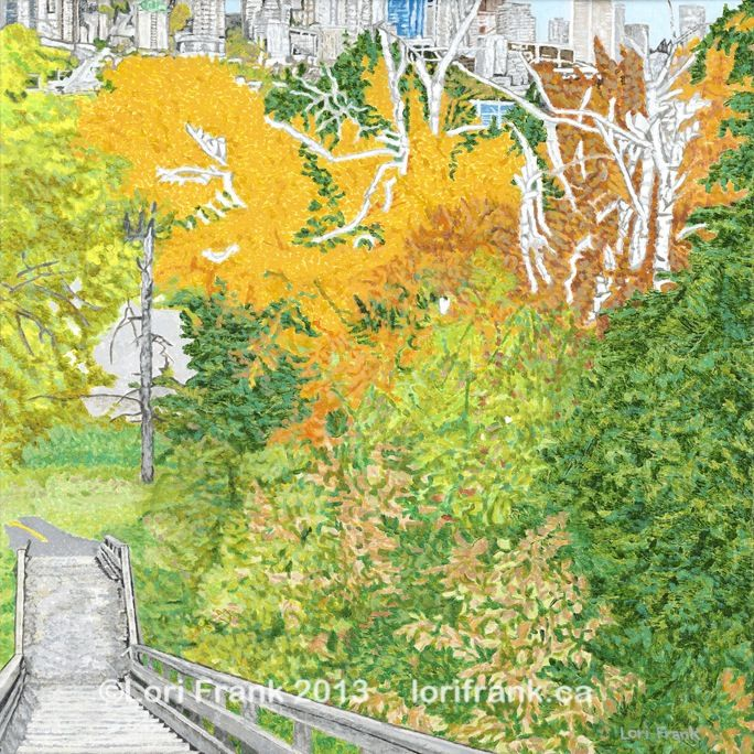 Painting called Sask Drive Stairs. This acrylic painting is part of my ongoing Stairway to Heaven series featuring Edmonton, Alberta. Canvas giclee prints now available. www.lorifrank.ca