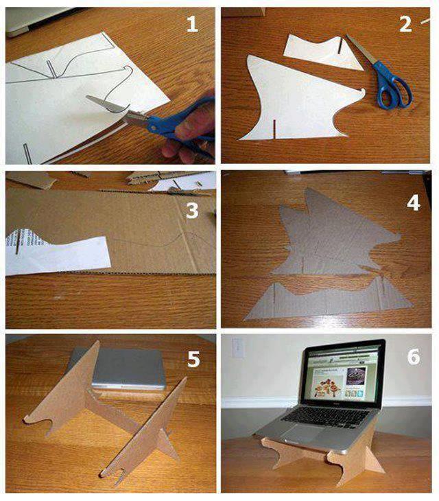 Suporte para notebook em papelão, podendo customizar conforme o gosto pessoal. :) Fonte: http://greenupgrader.com/7603/diy-cardboard-laptop-stand/ Download do Molde: http://thingiverse_beta.s3.amazonaws.com/assets/6f241806e925f17a8276374b351ce88d-LaptopStandGears.svg