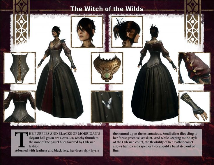 Dragon Age: Inquisition Character Kit (Morrigan) Gives great reference pictures and color scheme for cosplayers it get it just right.