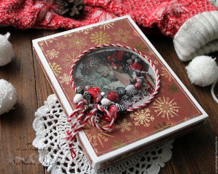 Купить Открытка с Рождеством в коробочке. - бордовый, Открытка ручной работы, открытки ручной работы