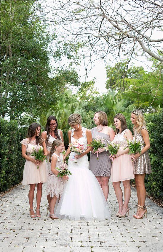 tan and gray bridesmaid dresses