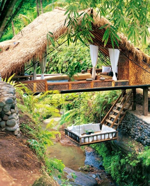 Outdoor spa.  Yes!
