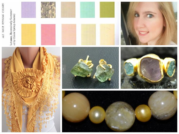 """Natural Jewelry for Toned Spring (including honey opal beaded necklace), gorgeous scarf...plus Spring-Autumn recessive Summer palette from book """"All Your Winning Colors"""" by Wendy J. Smith."""