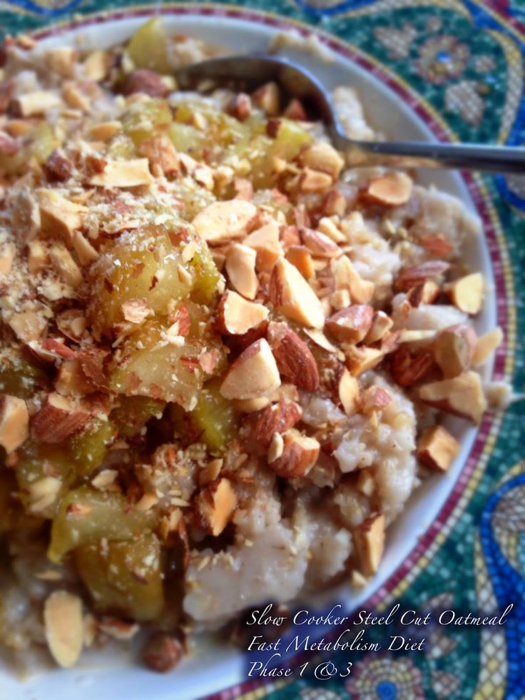 The Urban Domestic Diva: FMD Progress & RECIPE: Phase 1 or 3 Slow Cooker Steel Cut Vanilla Oatmeal and an Apple Topping