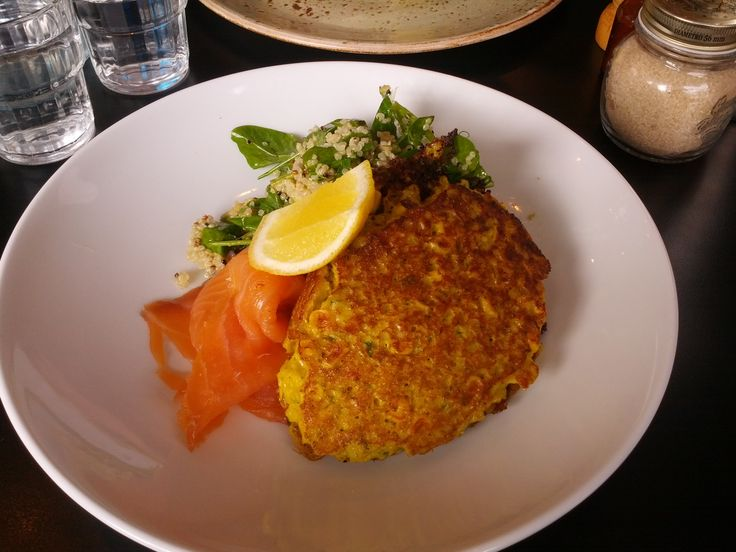 Corn fritters, smoked salmon, quinoa & snowpea tendrils - Pillar of Salt