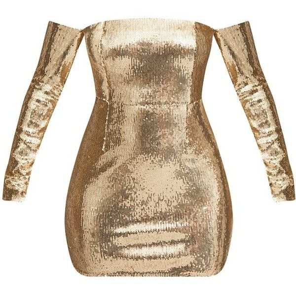 Gold Sequin Long Sleeve Bardot Bodycon Dress featuring polyvore women's fashion clothing dresses long sleeve sequin cocktail dress gold long sleeve dress brown dress body con dresses gold sequin dress
