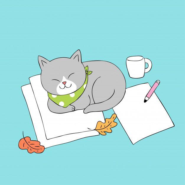Dibujos Animados Lindo Gato Otono Dormir Vector Gatos Gatos Kawaii Ilustraciones De Gato