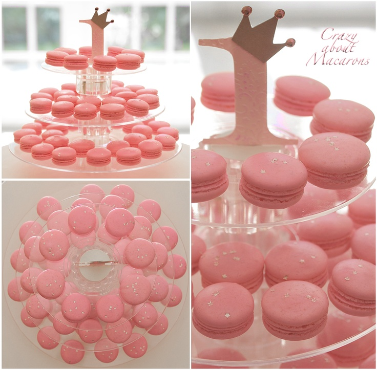 Pink Mini French Macarons for kid's birthday party  #Frenchmacarons